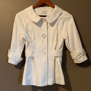 Loft white button blazer with 3/4 sleeves